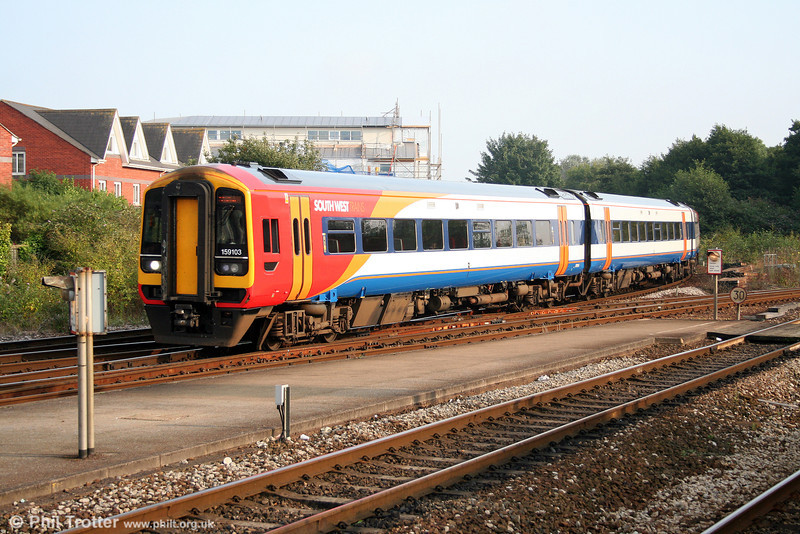 SWT's fleet of 158s and 159s always look smart. Here, 159103 arrives at Exeter St. Davids forming the 1730 Honiton to Paignton on 30th August 2008.