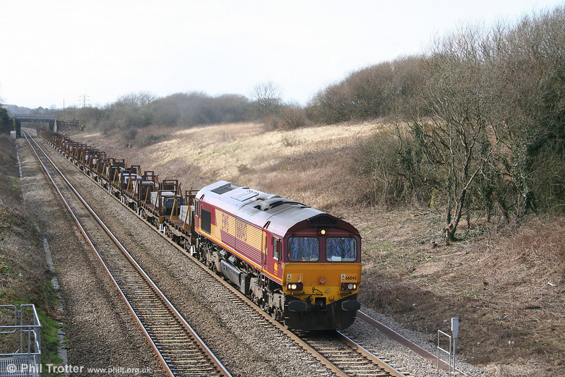 66043 crawls up Stormy Bank with 6H27, 1435 Margam to Llanwern slabs on 7th March 2008.