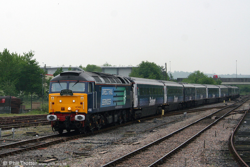 DRS 47802 'Pride of Cumbria' rolls into Carmarthen with the - by this stage, lightly loaded - 1Z36, 0742 London Paddington to Carmarthen, 'The Stobart Pullman' on 15th May 2008.