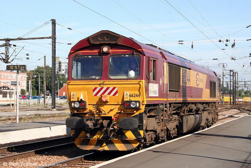 They turn up everywhere... EWS/Euro Cargo Rail 66244 runs light through Douai (FR) on 8th September 2008.