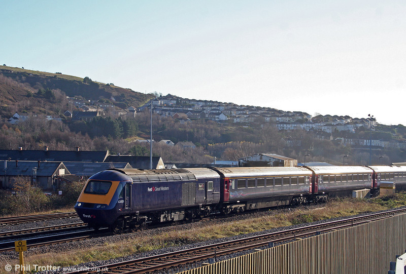 The low winter sunshine catches FGW's 43009 'First - Transforming Travel' as it leaves Swansea at the head of the 1229 service to London Paddington on 6th December 2008.