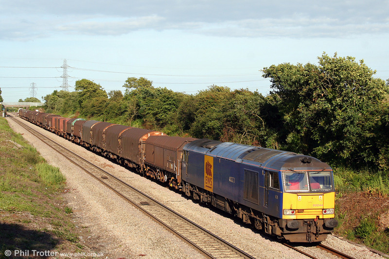 Mainline blue liveried 60044 descends Stormy Bank with 6V07, 1321 Round Oak to Margam on 23rd June 2008.