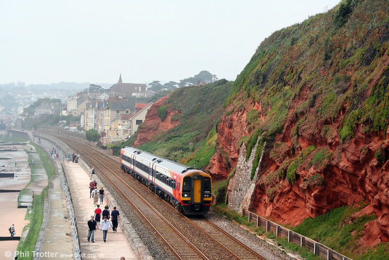 SWT 159008 on the sea wall at Dawlish, forming the 1223 Paignton to London Waterloo on 30th August 2008.