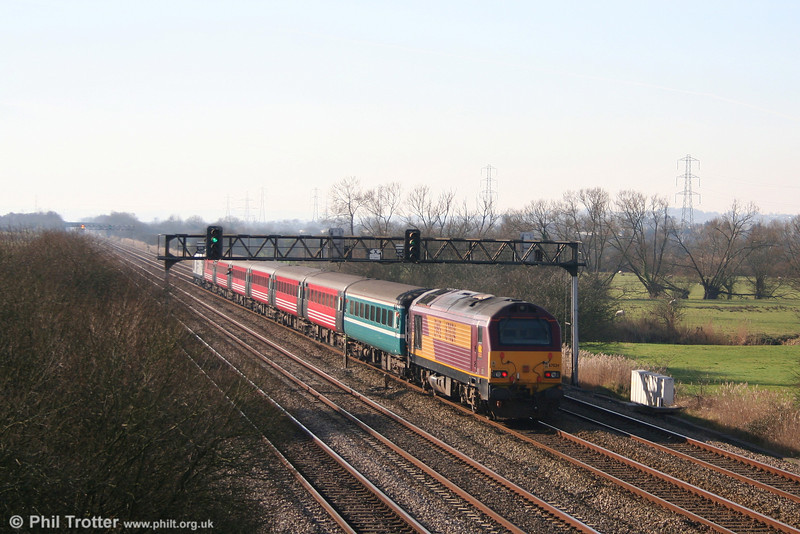 67024 brings up the rear of 1Z31, 0928 London Paddington to Cardiff 'rugex' on 9th February 2008.
