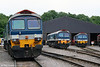 A trio of Hanson class 59/1s outside the maintenance shed at Merehead on 21st June 2008. Left to right: 59102 'Village of Chantry', 59104 'Village of Great Elm' and 59103 'Village of Mells'.