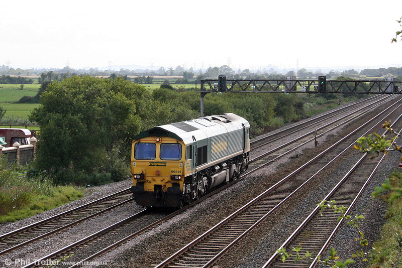 FHH 66514 runs light through Coedkernew, having hauled the day's Briton Ferry to Pengam on 10th September 2008.