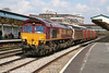 66124 passes through a sunny Newport with 6B24, 1036 Didcot Yard to Wentloog MoD stores train on 16th April 2008.