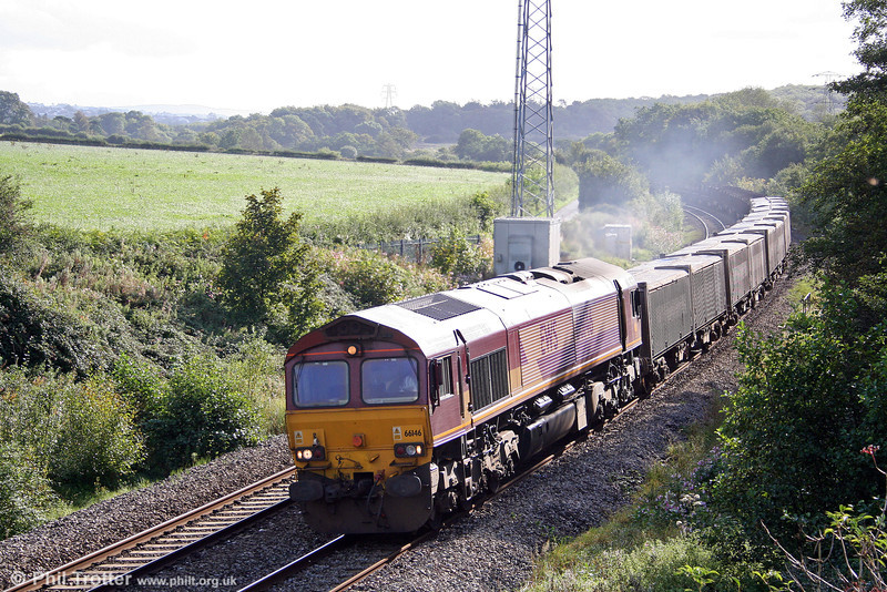 66146 catches the early morning sunlight at Llangewydd, heading the overnight 6V02 Tees Yard to Margam limestone and empty steel on 10th September 2008.