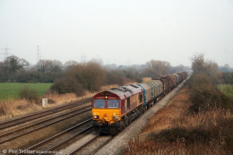 66201 at Coedkernew, heading 6V75, 0930 Dee Marsh to Margam on 10th January 2009.