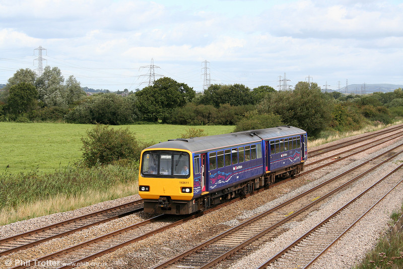 FGW's class 143 units are nowadays less common than hitherto on the Welsh side of the Severn. Refurbished 143611 passes Coedkernew forming the 0922 Portsmouth Harbour to Cardiff on 29th August 2009.