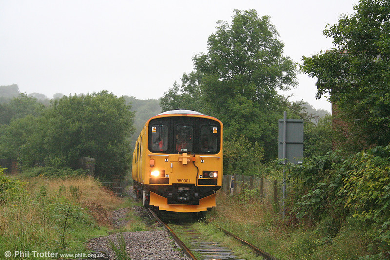 Network Rail's class 150-derived Track Assessment Unit 950001 approaches Gwaun Cae Gurwen level crossing, the limit of its run along the branch on 29th July 2009. The unit had originated at Shrewsbury.