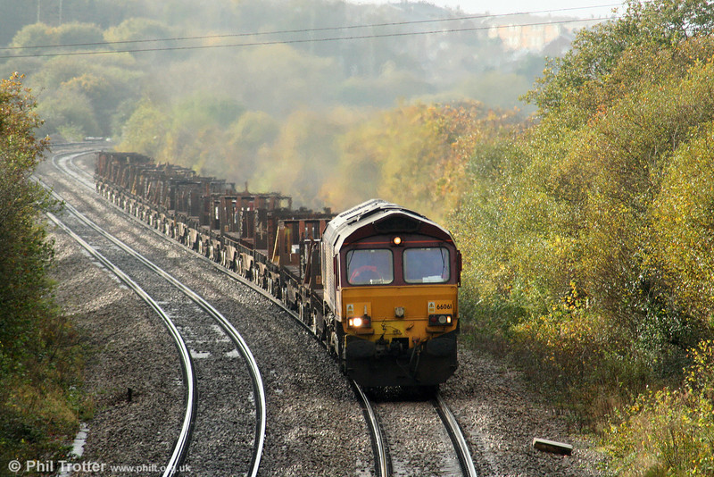 66061 begins the slog up Stormy with 6H27, 1351 Margam to Llanwern steel slabs on 7th November 2009.