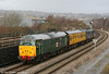 31601 shows its green livery to good effect as it passes Landore at the rear of test train 2Z08, 0458 Whitland to Bristol Temple Meads on 9th December 2009.