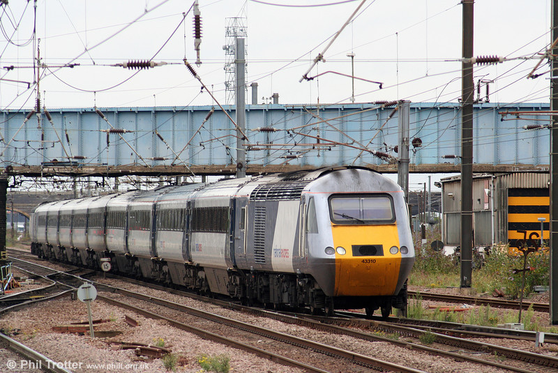43310 prepares to call at Peterborough on its way south with 1E08, 0930 Edinburgh to London King's Cross on 4th August 2009.