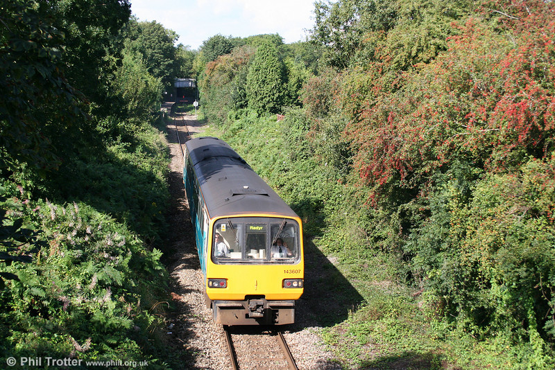 143607 heads away from Coryton with the 1015 service to Radyr via the City Line on 29th August 2009. The passenger service west of Coryton on the Cardiff Railway's unsuccessful line to Treforest was withdrawn as early as 1931 with that section of the line closing completely in 1953.