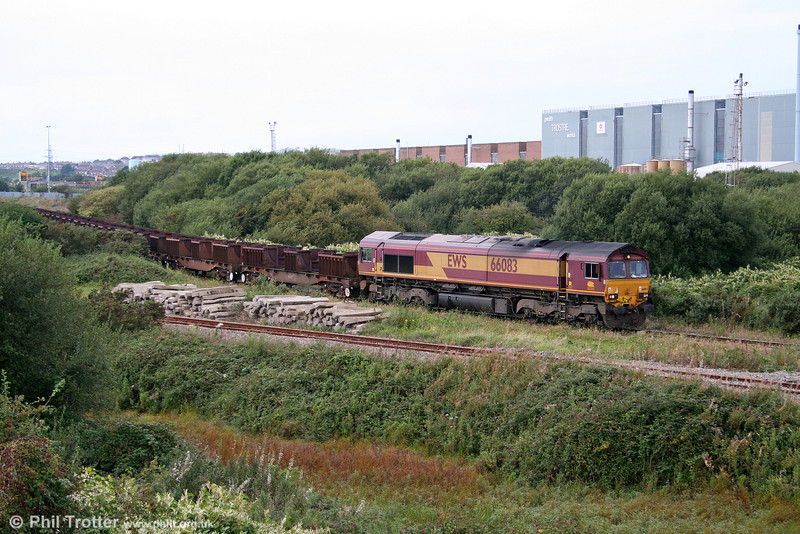 Tinplate production has continued apace throughout the recession; 66083 departs from Corus, Trostre Works with 6B64, 1625 Trostre to Margam empties on 6th September 2009.