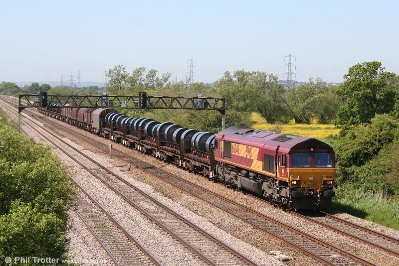 66046 at Coedkernew with 6H25, 0952 Margam to Llanwern on 30th May 2009.