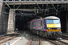 Scotrail liveried 90019 emerges into the sunlight from New Street Tunnels with 1G15, 1043 London Euston to Birmingham New Street on 7th August 2009.