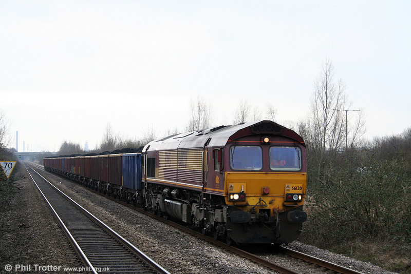 66120 is seen at Baglan heading 6F76, 1013 Parc Slip to Onllwyn on 14th February 2009.