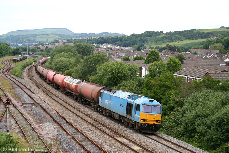 60074 'Teenage Spirit' at Briton Ferry with 6B13, 0510 Robeston to Westerleigh on 12th June 2009.