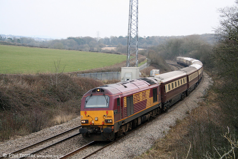 67025 'Western Star' passes Llangewydd with the Northern Belle stock, forming 5Z86, 1406 Cardiff Central to Margam ecs on 14th February 2009. The train had previously run as 1Z86, 0953 London Victoria to Cardiff 'Rugex'.