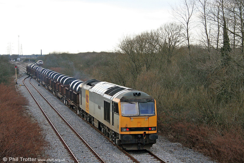 After a second reversal, 60072 once again brings up the rear of the train as it enters Trostre Works. 1st February 2009.