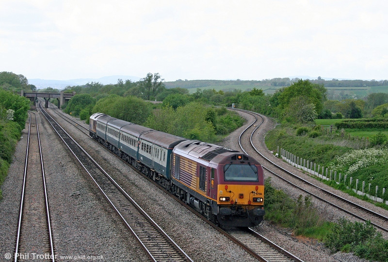 67016 heads 2C79, 1400 Cardiff Central to Taunton past Llandevenny on 8th May 2009.
