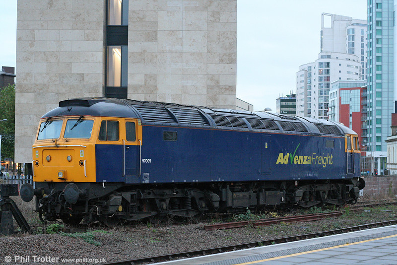 Where next? With Advenza Freight now having ceased trading, an announcement has still to be made about the future of the company's two class 57s. 57005 has been standing at Cardiff Central for some time, as seen on 22nd October 2009.