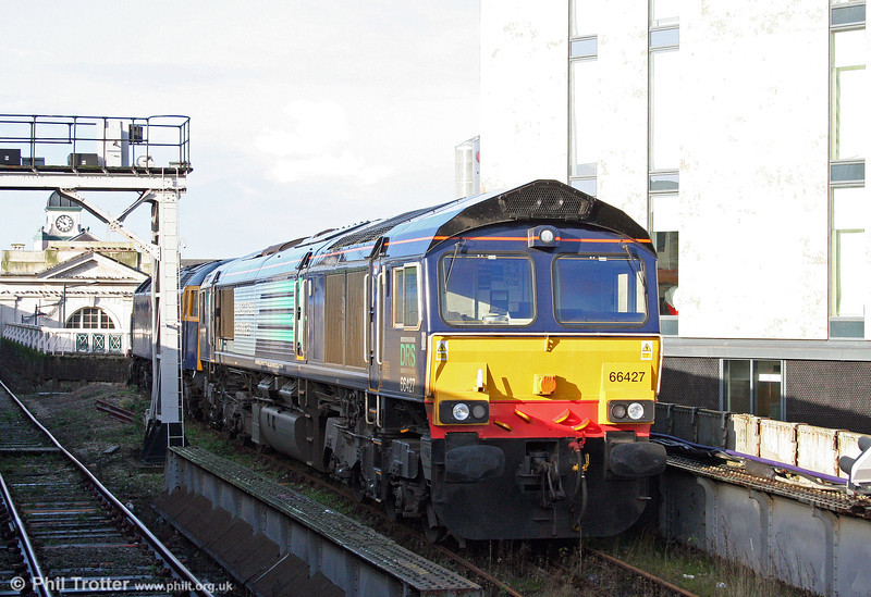 DRS have picked up the Stockton to Cardiff Tidal scrap trains, previously operated by the now defunct Advenza Freight. 66427 is seen stabled at Cardiff Central on 15th November 2009.