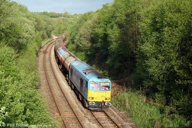 60074 'Teenage Spirit' passes Llangyfelach with 6B13, 0510 Robeston to Westerleigh on 8th May 2009.