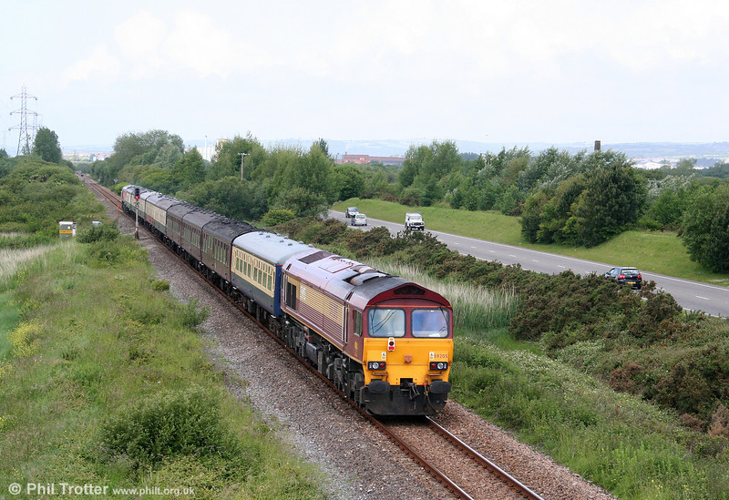 59205 'L Keith McNair' brings up the rear of UK Railtours 1Z58, 0708 London Paddington to Carmarthen, 'The Thames-Towy' at Loughor on 13th June 2009.