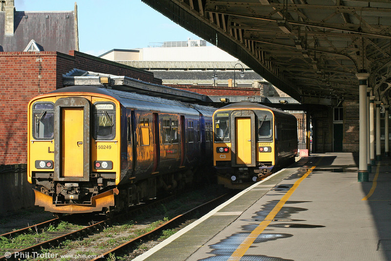 FGW's 150249 and 153377 stabled in the old parcels bay at Bristol Temple Meads on 15th November 2009.