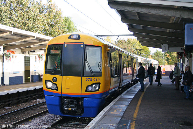LOROL's new class 378 'Capitalstar' units are gradually taking over services on the North London Line. Bombardier-built 378010 calls at Gospel Oak while working the 1537 Stratford to Richmond 'Overground' service on 24th October 2009.