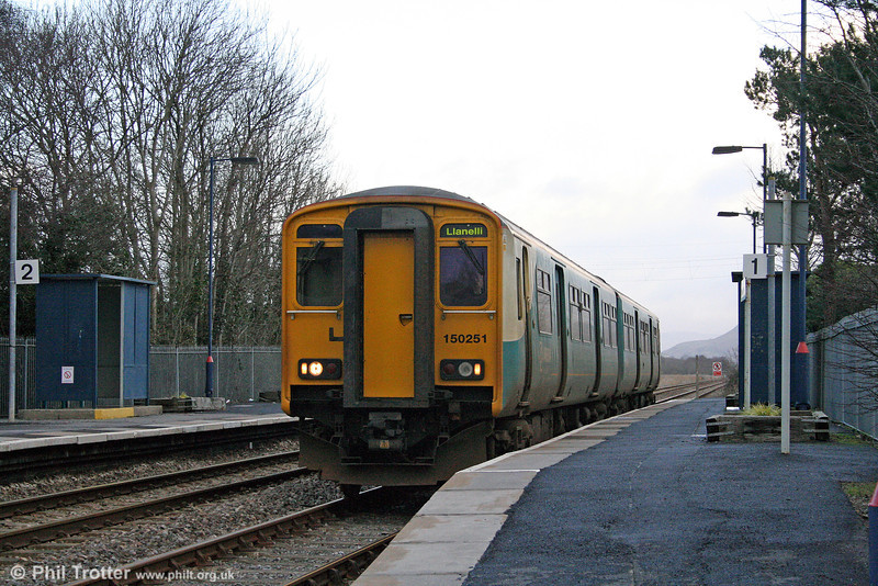 There are no passengers for 150251 as it passes through Llangennech forming the 1207 Shrewsbury to Llanelli on 18th January 2009.