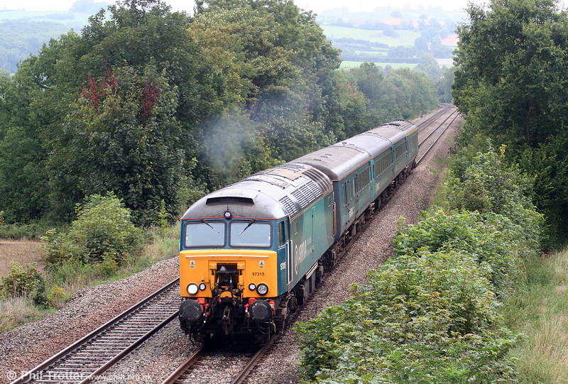 57315 passes Llanover with 1V31, 0532 Holyhead to Cardiff Central on 31st August 2009.