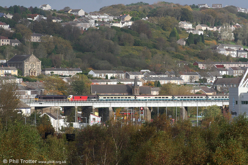 67005 'Queen's Messenger' and former VWC DVT 82101 cross Landore Viaduct to enter Swansea running as 5Z63, 0849 Canton TMD to Swansea filming special on 25th October 2009.