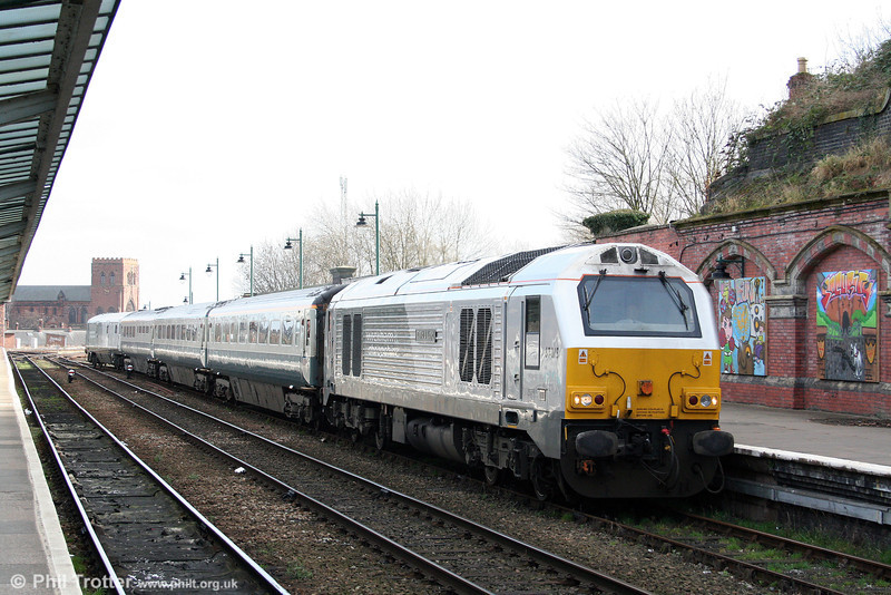 Wrexham & Shropshire liveried 67015 'David J Lloyd' arrives at Shrewsbury at the head of 1J86, 1124 London Marylebone to Wrexham General on 14th March 2009. The late Councillor Lloyd was a prominent campaigner for improved rail services in Shropshire.