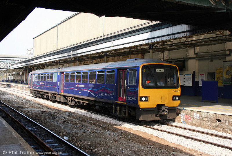 FGW's class 143s are currently going through a refurbishment programme, including the addition of 'local lines' livery. 143617 waits at Exeter St. Davids while working the 1313 Paignton to Exmouth on 21st March 2009.