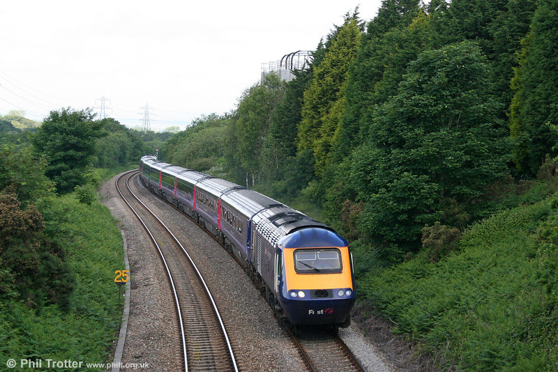 The 0935 Carmarthen to London Paddington is seen climbing Cockett Bank on 13th June 2009.