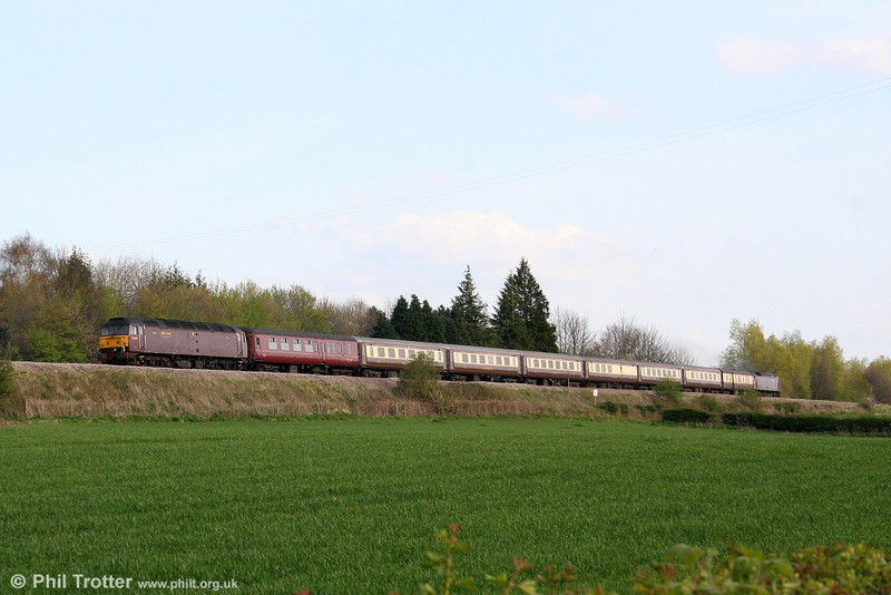 West Coast's 47804 brings up the rear of Past Time Rail's 1Z22, 0843 Dumbarton Central to Taunton, 'The Scottish Chieftain' as it heads away from Abergavenny on 13th April 2009.