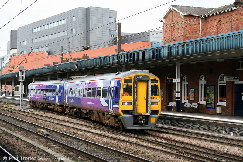 NR 158843 departs from Doncaster while working the 1308 Bridlington to Sheffield on 6th August 2009.