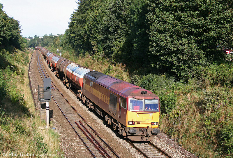 60019 'Pathfinder Tours' is seen near Llanharan with 6B13, 0510 Robeston to Westerleigh on 29th August 2009.