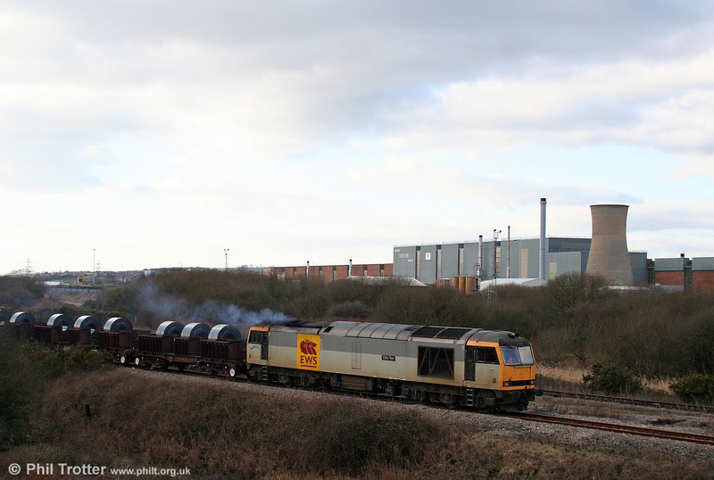 60072 'Cairn Toul' passes Trostre Works with 6B12, 1414 Margam to Trostre on 1st February 2009.