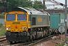 66576 'Hamburg Sud Advantage' at Peterborough with 4L85, 0857 Leeds to Felixstowe on 4th August 2009.