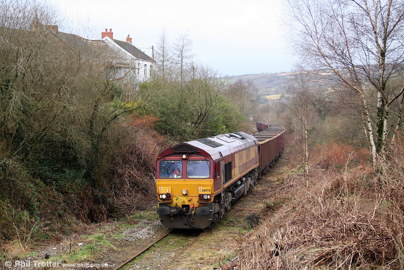A sight which soon will become commonplace: 66076 heads up the Gwaun Cae Gurwen Branch near Garnant with the inaugural 6O05, 1038 Swansea Burrows to Gwaun Cae Gurwen empty MEAs on 16th January 2009.