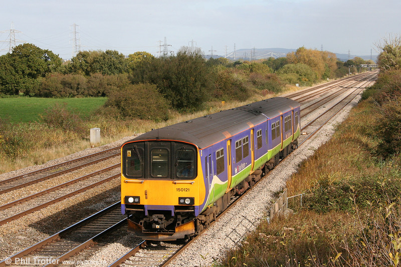 Silverlink liveried 150121 passes Coedkernew forming the 1107 Taunton to Cardiff Central on 17th October 2009.
