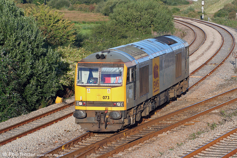 Now back working out of South Wales, having been stored at Toton since November 2008, is 60073 'Cairn Gorm' which carries its name on one side only. The loco is seen at Llandeilo Junction running as 0B07, 1754 Margam to Robeston (from where it will work 6A11, 2246 Robeston to Theale) on 9th September 2009.
