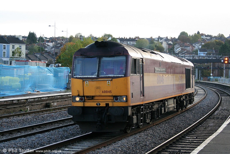 Later on 22nd October 2009, 60045 'The Permanent Way Institution' runs light through Newport.