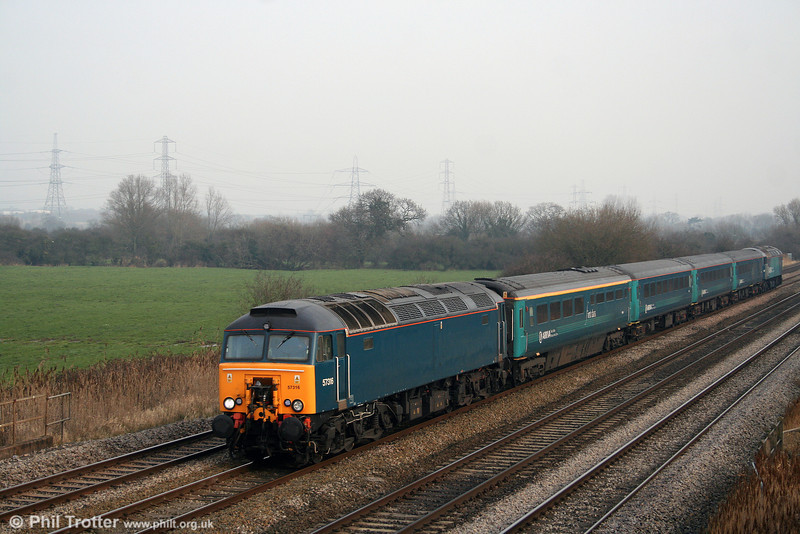 Unusually running on a Saturday, 57316 passes Coedkernew at the head of ATW's 1V53, 0633 Holyhead to Cardiff Central on 10th January 2009. The set was reported as being used on this turn to enable the rolling stock to receive attention at Canton. 57315 was at the rear.