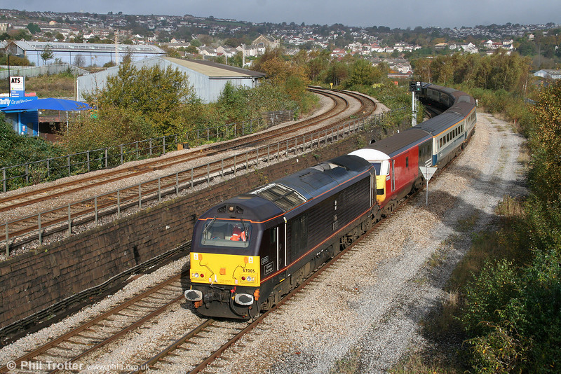 67005 'Queen's Messenger' and former VWC DVT 82101 pass Landore at the head of 5Z63, 0849 Canton TMD to Swansea filming special on 25th October 2009.